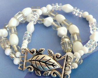 Forever White Bracelet White Crystal Clear Beads Multi-Strand FREE SHIPPING