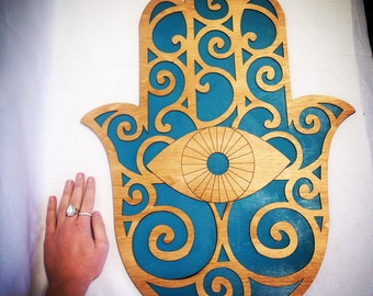"Large 24"" Wood and Teal Hamsa Wall Art"