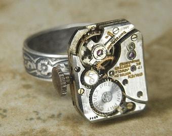 Women's STEAMPUNK Ring Jewelry - Torch Soldered - Antique CURVEX GRUEN Rectangular Watch Movement w/ Adjustable Floral Band - Amazing Design