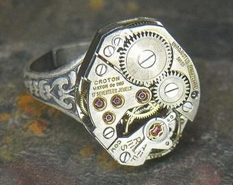 Women's STEAMPUNK Ring - Torch SOLDERED - Vintage Silver CROTON Watch Movement - Birthday, Anniversary Gift - Fine Design