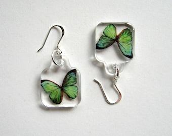 Butterfly Earrings - Enchanted Petites - green, small earrings, Summer earrings, wings, flutter, Nature inspired, minimal, modern, resin