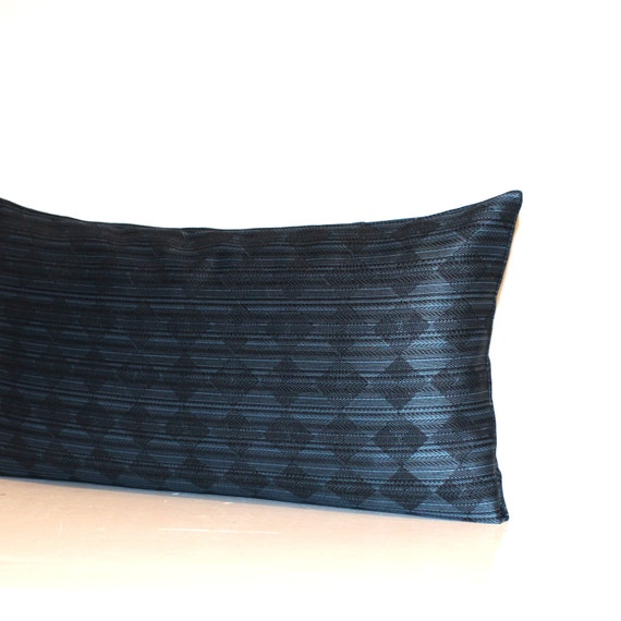 Decorative Black Lumbar Pillow : Lumbar Pillow Cover Black Blue Diamond Pattern Decorative