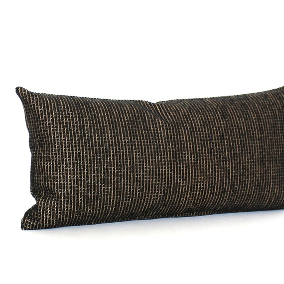 lumbar pillow black gold chenille decorative accent oblong. Black Bedroom Furniture Sets. Home Design Ideas