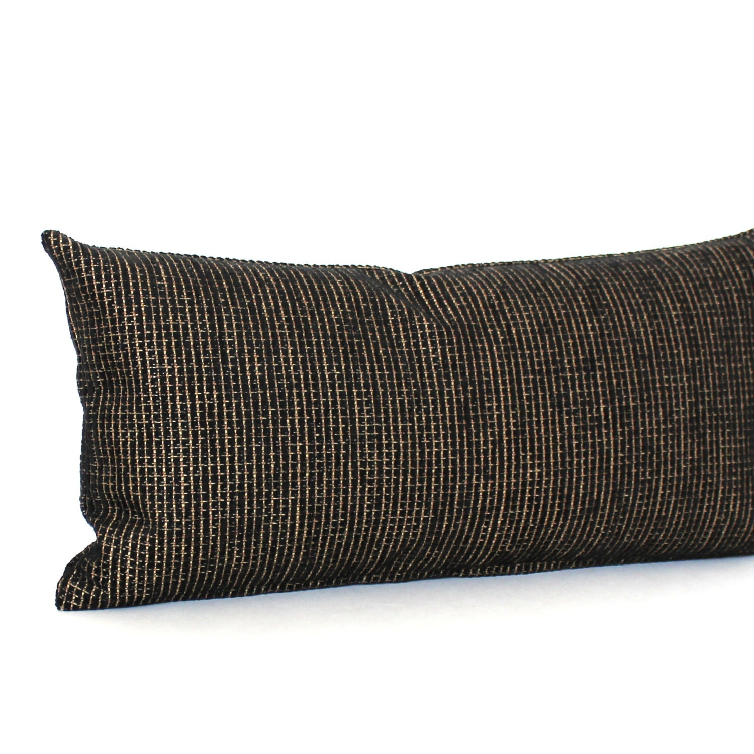 Decorative Black Lumbar Pillow : Lumbar Pillow Black Gold Chenille Decorative Accent Oblong