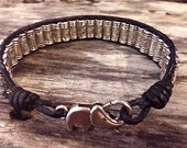 Elephant Clasp Tibetan Prayer Wheel Silver Beads Black Leather Wrap Bead Bracelet Weaved Lucky