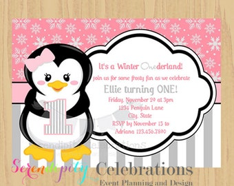 12 Printed Invitations By Serendipity Celebrations -Pink Grey Black Penguin -Birthday -Baby Shower -Printing Service