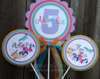 Personalized 3 Piece Centerpiece -Pretty Ponies -Birthday -Baby Shower -Table Decoration -Candy Dessert Table -My Lil Pony -Photo Prop