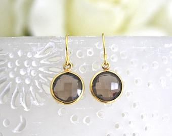 Smoky Quartz Earrings, Gold Earrings, Bridesmaids Jewelry, Tiny Jewelry Dainty Gold Earrings Bridesmaid Earrings Birthday Gift Gifts for Her