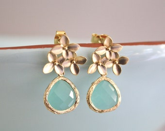 Gold Earrings, Aqua Blue Cherry Blossom Stud Earrings, Aqua Wedding, Bridesmaid Earrings, Bridesmaid Gifts, Floral Earrings Gold Flower Mint