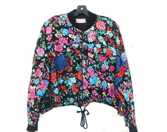 90's BATWING FLORAL BOMBER vintage cropped slouchy jacket zip up boxy crop  India beaded M