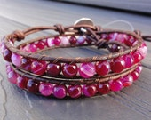 Deep Pink Faceted Striped Agate Double Leather Wrap Bracelet