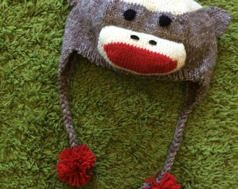 Hand Knit Sock Monkey Hat