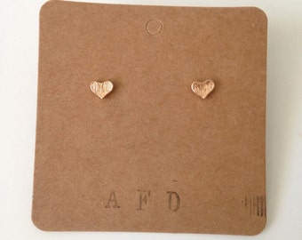 tiny heart earrings | gold or silver plated | lead free & nickel free post | love