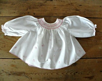French Vintage baby girl white shirred blouse with pink flowers