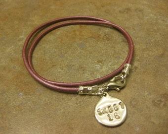 sweet 16, sweet sixteen, birthday gift,stamped jewelry, leather bracelet, sweet 16 bracelet,leather jewelry, wrap bracelet, sweet 16 jewelry