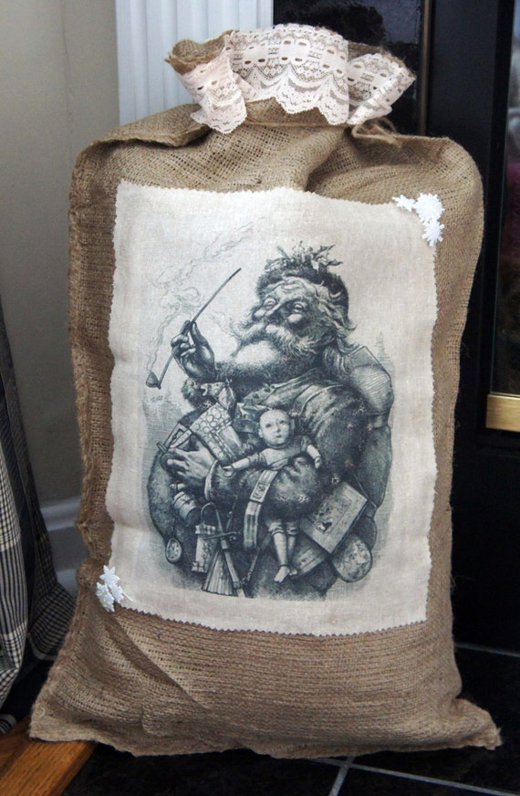 Christmas Burlap Sack, Gift Bag, Holiday Decor - OOAK