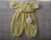 6+ month Yellow and White Crochet Bubble Suit, Sweater and Headband size 6+ months