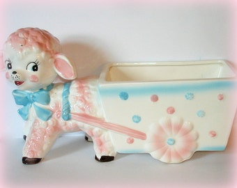 Vintage Lamb Planter Replo Baby Gift Very Detailed Pink and Blue Polka Dots Ceramic Elongated Planter Bed