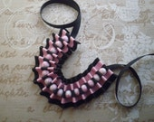 Ribbon bracelet - Black and pink ribbon bracelet with white-pink beads