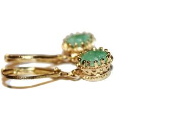 gold dangle stone earrings,green earrings, pink earrings,small dangle earrings,gemstone earrings