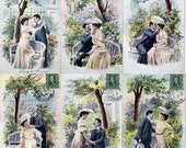 Vintage French Postcard Romantic Series Set of 6 Six Love Romance In the Park Pink Aqua Flowers 1900's