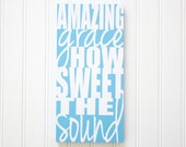 Amazing Grace Painting Amazing Grace How Sweet the Sound Art Modern Hymn Artwork Modern Christian Decor Wedding Gift Aunt Gift Light Blue