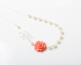 Ivory Pearl and Coral Rose Bridesmaid Necklace, Coral Wedding Jewelry, Bridesmaid Necklace, Coral and Ivory, Delicate necklace