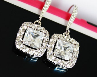 Square Crystal Drop Wedding Earrings, Cubic Zirconia Bridal Earrings, Crystal Bridesmaid Earrings, Mother of the Bride, Bridal Accessories