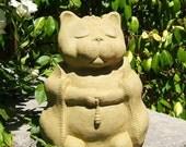 LARGE MEDITATING CAT - Solid Stone Original Copyrighted Garden Sculpture (v)