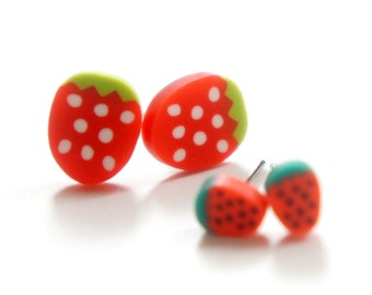 Baby Miniature Sliced Red Strawberry Post Earrings 4mm 10mm