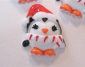 Penquin with Santa Hat Resin Cabochons Embellishment Buttons Lot of 2