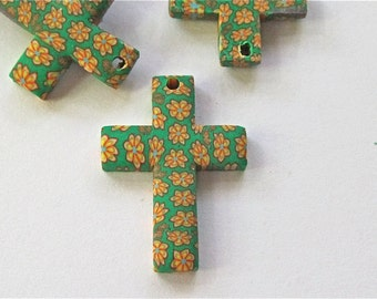 Cross Flowers Fimo Clay Charms Embellishments lot of 3
