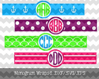 Monogram Wraps-2 .DXF/.SVG/.EPS Files for use with your Silhouette Studio Software Great to personalize phone chargers, cups, binders, etc