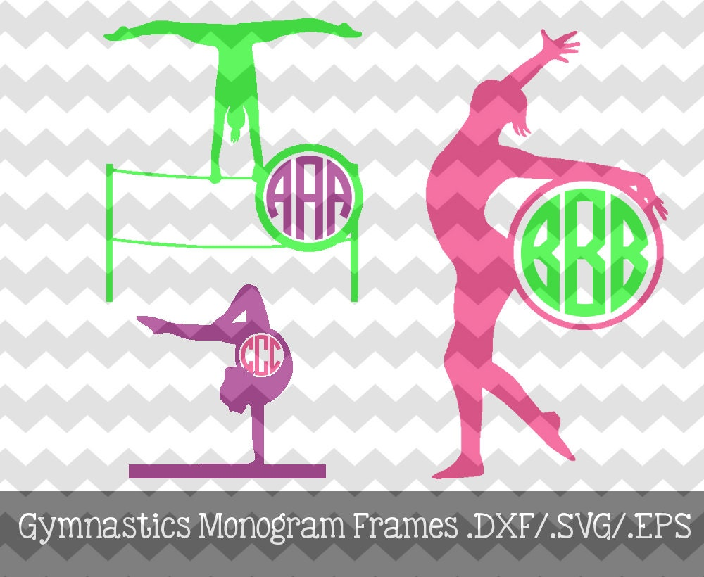 gymnastics monogram frames dxfsvgeps files for use with your silhouette studio software - Monogrammed Picture Frames