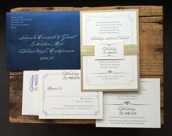 "Navy Wedding Invitations, Elegant, Traditional Navy Wedding Invites, Classic Monogram - ""Elegant Navy Script"""