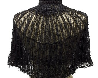 Victorian Cape Silk Beads Heavily Beaded Jet Black Mourning Capelet Museum Quality French design RARE piece Bust 36 Size M Medium Coat