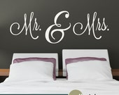 Mrs. & Mrs. Wall Decal - Bedroom Wall Decor - Choose Your Color - WD0381
