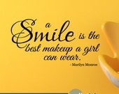 Marilyn Monroe Wall Decal - A Smile is the Best Makeup Marilyn Monroe Quote - Bedroom Powder Room Wall Decor - WD0383