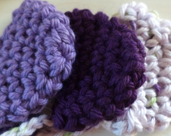 Hand crocheted Purple NOSE WARMER Mitten Cozy 100% Cotton Made in the USA Stocking Stuffer