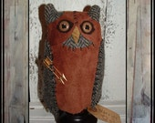 Fantasy Folk Art wool owl make do assemblage HAGUILD HAFAIR OFG leather hood vest brass arrows