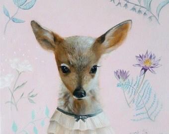 Nursery Illustration, Nursery Wall Art, Pink Nursery Art, Nursery Deer Print, Pink Deer Nursery, Kids Room Art,  Prints Little Deer