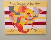 "North America travels pushpin map- 16""x20"" canvas"