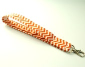 Wristlet Keychain. Orange and Ivory Chevron. Ready to Ship.