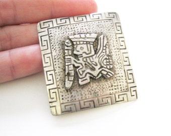 Peru Deity Brooch Sterling Silver Peruvian God Raised Design Inca Vintage Pin