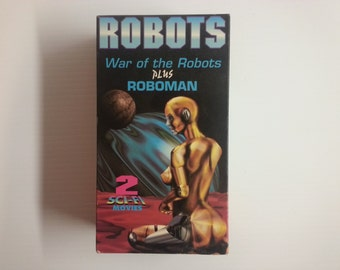 vintage Sci Fi movies | VHS box set | War of the Robots | Roboman | VHS movies | vintage movie case | VHS collectible | vintage robots