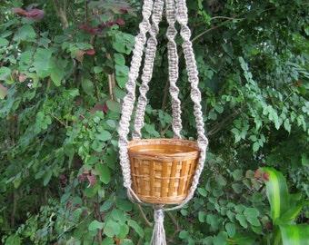Hemp 31 1/2 Inch No Beads Macrame Plant Hanger