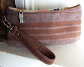Small Wristlet Purse / Zip Pouch Wallet / Striped Saddle Blanket in Rose and Tan / Swoon Patterns Coraline