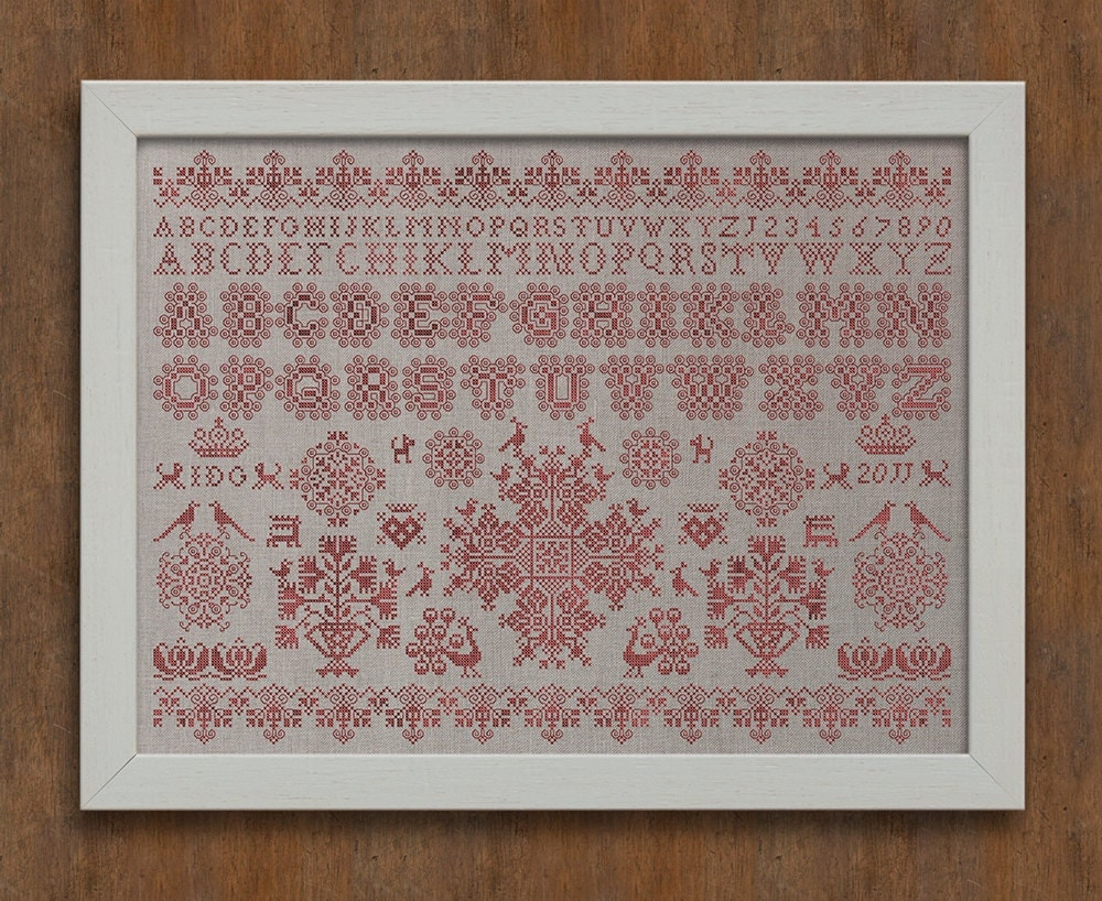 Frisian cross stitch sampler no instant download pdf