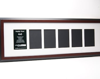 Multi 2 3 4 5 6 7 8 9 or 10 Opening Mahogany Picture Frame with Mat to hold 4x6 photographs