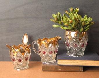 Antique EAPG bullseye and fan pitcher, spooner, vase - gilt glass - circa 1905 US Glass pattern - Victorian Gothic serving tableware
